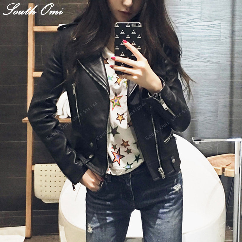 Vintage Leather Jacket Women Moto Biker Leather