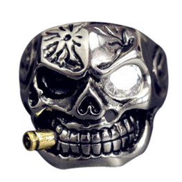 smoking skull ring titanium ring - MOTORCYCLES CLUB.NET