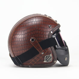 Vintage Harley Helmets, Motorcycle Chopper Bike Helmet open face with Goggle Mask - MOTORCYCLES CLUB.NET