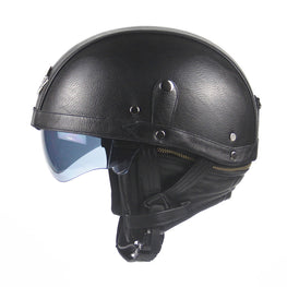 Retro Leather Motorcycle Harley Helmets DOT Approved - MOTORCYCLES CLUB.NET