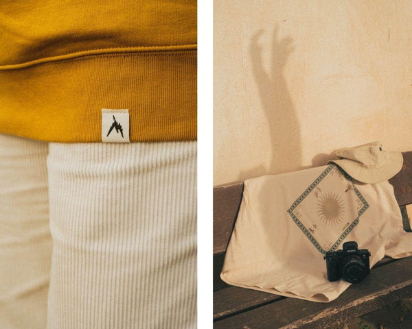 two different shots of INMIND products and short sleeve t-shirts, first is a shot of our labels hanging on a dyed ochre t-shirt made of organic cotton and second is our collaboration of Isabelle with her watercolour designs on our organic natural raw fibres