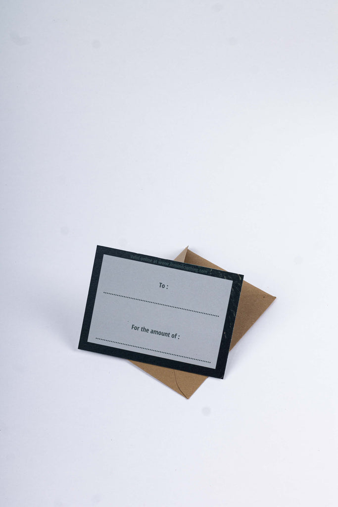 INMIND's Physical Gift Card - INMIND Clothing