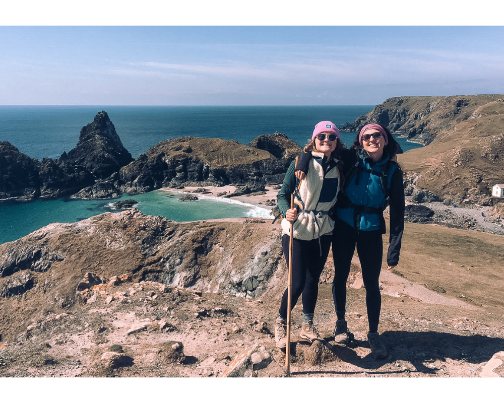 hiking picture of two friends in united kingdom