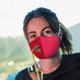 Face Mask with Straw Opening Drinking Gin Only