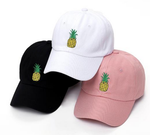Pineapple Baseball Cap Pink Black White Summer