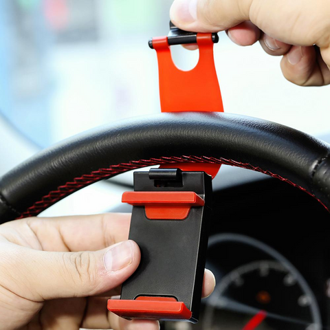 Car Phone Holder Wheel Driving Drivers GPS Smarphone iPhone Elastic