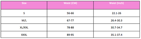 sizes chart glam body shaper