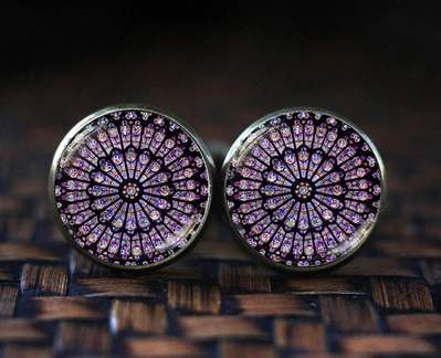 Notre Dame de Paris Cathedral Cufflinks Rose Window