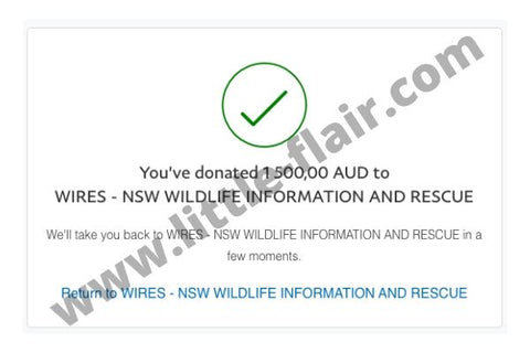Wires Wildlife Rescue Australia Donation Little Flair 1500 AUD PayPal