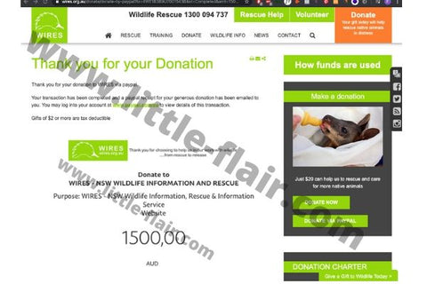Wires Wildlife Rescue Australia Donation Proof Little Flair 1500 AUD