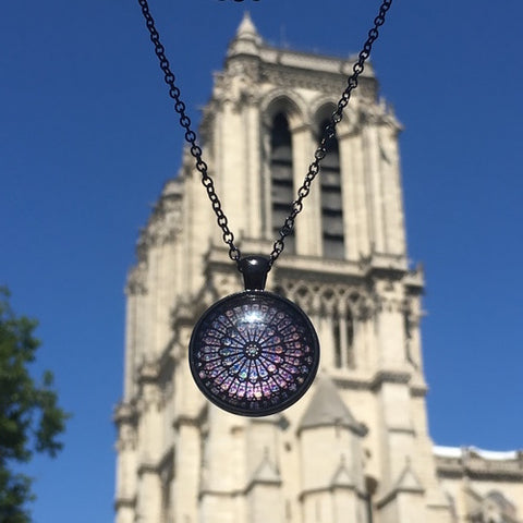 notre dame de paris towers rose window necklace souvenir