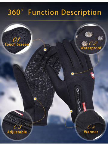 B-Forest Gloves Windproof Waterproof Touchscreen Black Winter Outdoor Exploration Ski Cycling Snowboard Hiking Hunting Fishing Mountain Description