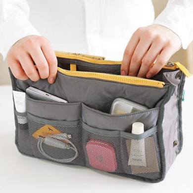 Bag'O Bag Organizer Grey switch purse handbag insert Hands Wallet Phone stuff