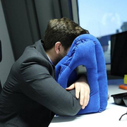 Blue Inflatable Travel Neck Pillow Man Sleeping