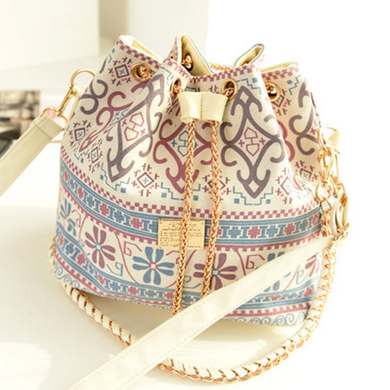 Boho Crossbody Bag Bohemian Shoulder Handbag Drawstring Pearls Gold Chain Good Quality Front