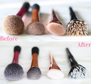 clean makeup brushes before after makeup cleaner