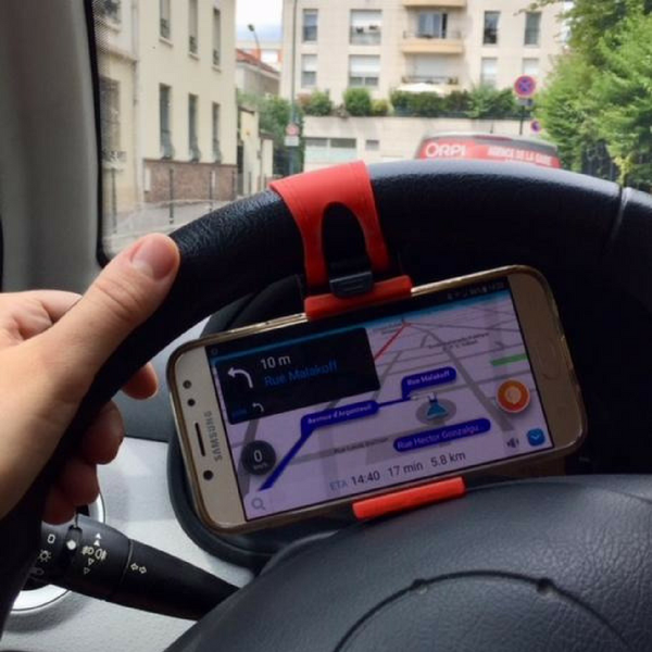 Car Phone Holder Wheel Red GPS Hold Smartphone iPhone Navigation