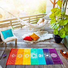 Chakras Towel Meditation Yoga Mat Rainbow Colors Hammock