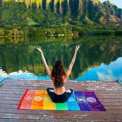 Chakras Towel Meditation Yoga Rainbow Colors Microfiber Woman Meditating Lake