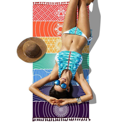 Chakras Towel Meditation Yoga Rainbow Colors Microfiber Seven Woman Tanning