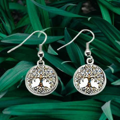 Tree Of Life Silver Dangle Earrings Round Forest