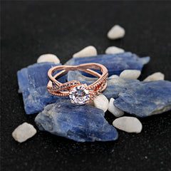Faith by Little Flair Cubic Ring Zircon Woman Gold Or Rose Blue Rocks