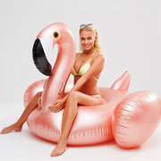 Giant Flamingo Pool Float Rose Gold Blond Woman
