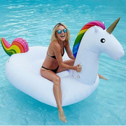 Giant Unicorn Pool Float Blond Woman