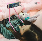 Lazy Phone Holder iPhone Pink Girl Lying In Bed