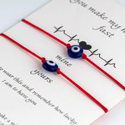 Lucky Eye Red Line Bracelet Heart Beat