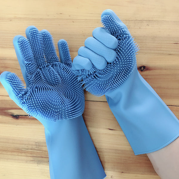 Magic Gloves Silicone Washing Dishes Cleaning Pet Blue Pair