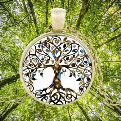 Tree Of Life Gold Round Necklace Forest