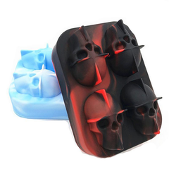 Skull Head Ice Cube Tray Black Red White Blue