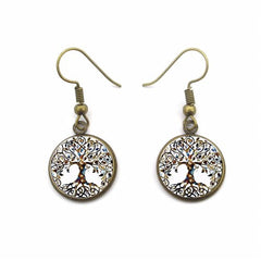 Tree Of Life Bronze Dangle Earrings Round