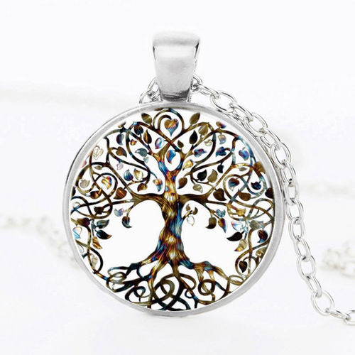 Tree Of Life Silver Round Necklace