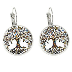 Tree Of Life Creole Earrings Silver