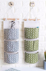 Two Wall Storage Basket Organization Grey Green