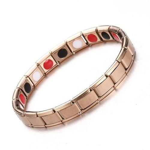 Women Therapeutic energy bracelet man chakra negative ions stainless steel far infrared neodymium magnet Germanium Black Ochre Rose Gold