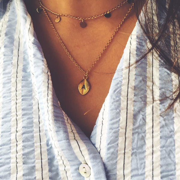 gold choker necklace boho pendants tassels ootd fashion girl gift jewelry little feather necklace letter A