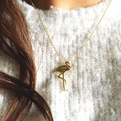 flamingo necklace gold sweater cozy gift unique