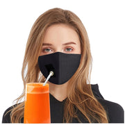 face mask drinking straw hole