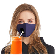 face mask drinking straw hole blue