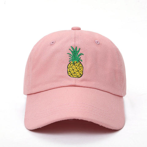 Pineapple Embroidered Cap Pink