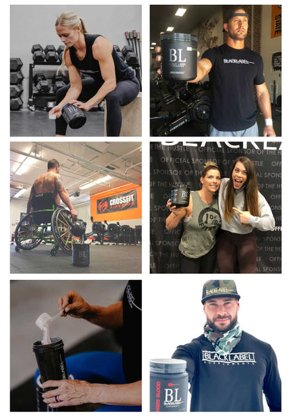 Gallery of six images showing crossfit athletes with a bottle of BLACKLABEL Supplements Pre HUSTLE Pre workout supplement
