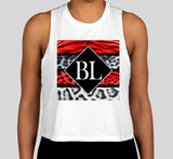 White Crop Top Ladies Tank - Tiger's Blood
