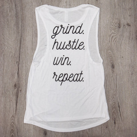 Ladies Grind Hustle Win Repeat Tank White