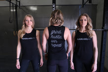 Load image into Gallery viewer, Ladies Black Label Grind Hustle Win Repeat Muscle Tank