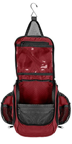 Compact Hanging Toiletry Bag & Organizer | Water Resistant, Mesh Pockets, Sturdy Hook Red