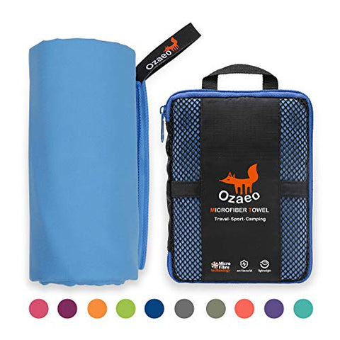 Ozaeo Microfiber Travel Towel, Lightweight Gym Towel, Quick Dry, Super Absorbent Camping Towel for Sports, Backpacking, Swimming, Cycling, Hiking Blue-L