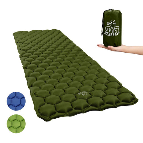 DEERFAMY Camping Sleeping Pad Inflatable, Backpacking Inflating Sleeping Pad Lightweight Compact Portable